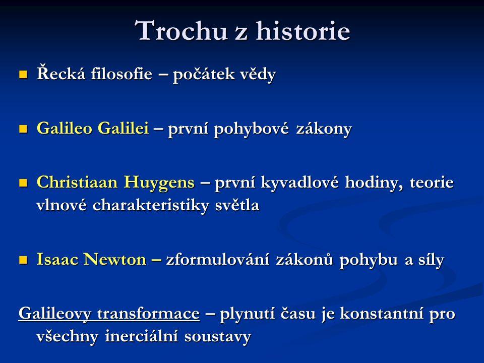 Trochu z historie Řecká filosofie – počátek vědy Řecká filosofie – počátek vědy Galileo Galilei – první pohybové zákony Galileo Galilei – první pohybo