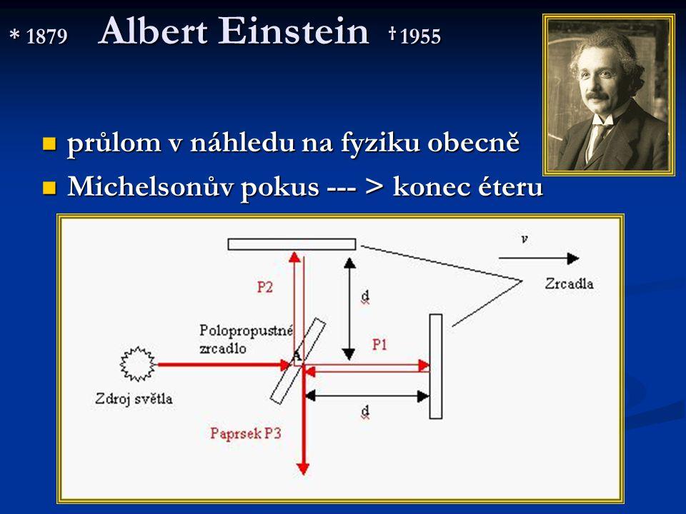 * 1879 Albert Einstein † 1955 průlom v náhledu na fyziku obecně průlom v náhledu na fyziku obecně Michelsonův pokus --- > konec éteru Michelsonův poku