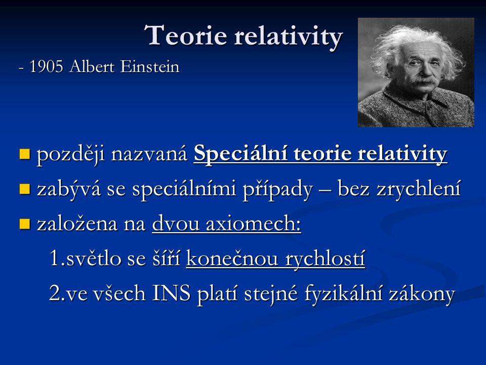Teorie relativity - 1905 Albert Einstein později nazvaná Speciální teorie relativity později nazvaná Speciální teorie relativity zabývá se speciálními