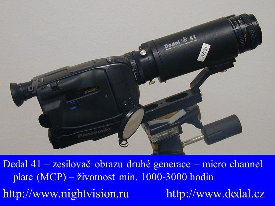 Dedal 41 – zesilovač obrazu druhé generace – micro channel plate (MCP) – životnost min. 1000-3000 hodin http://www.nightvision.ru http://www.dedal.cz