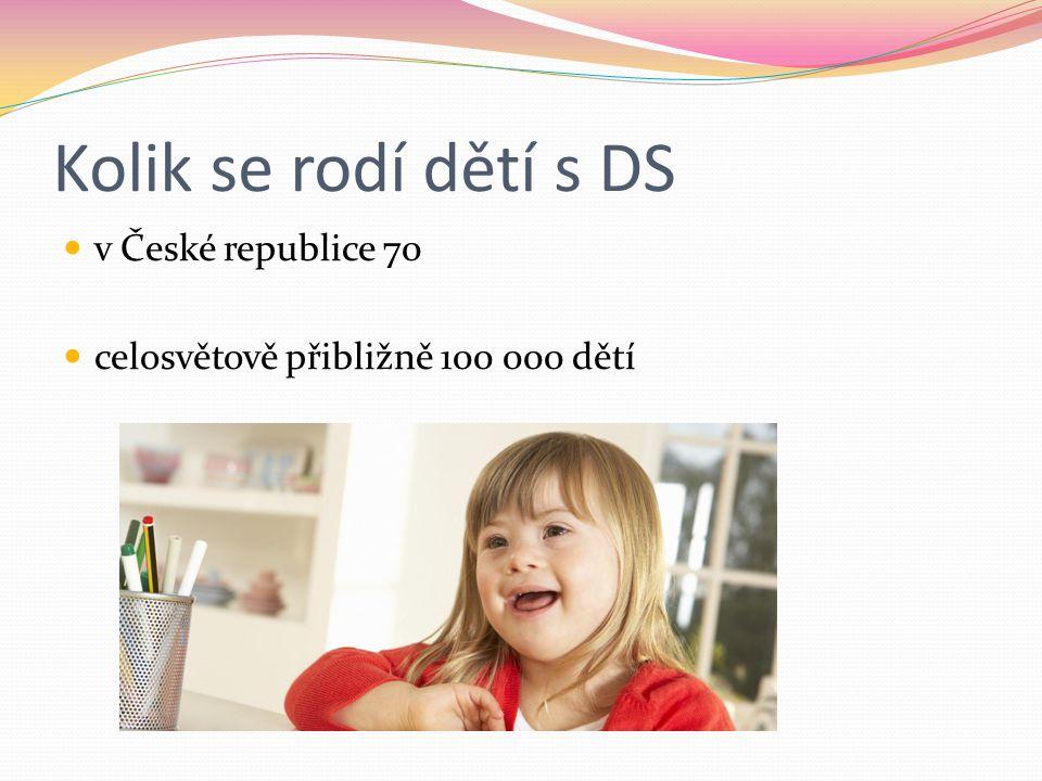 Jak ovlivňuje DS vývoj a život dítěte vývoj probíhá vcelku normálně výchova a učení vyžaduje specifický přístup motorický vývoj a vývoj řeči je o hodně pomalejší méně ovlivněn emociální a sociální vývoj