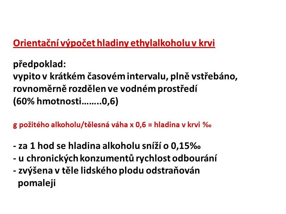 Orientační výpočet hladiny ethylalkoholu v krvi předpoklad: vypito v krátkém časovém intervalu, plně vstřebáno, rovnoměrně rozdělen ve vodném prostřed