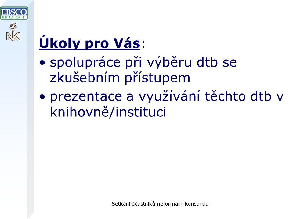 Setkání účastníků neformální konsorcia Úkoly pro Vás: spolupráce při výběru dtb se zkušebním přístupem prezentace a využívání těchto dtb v knihovně/in