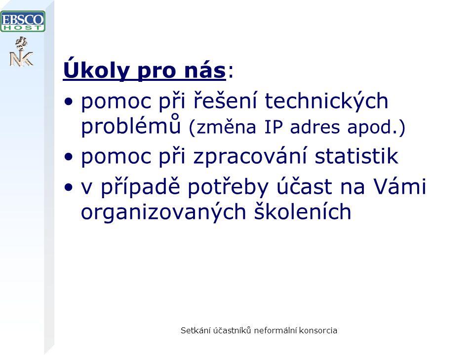 Setkání účastníků neformální konsorcia Úkoly pro nás: pomoc při řešení technických problémů (změna IP adres apod.) pomoc při zpracování statistik v př