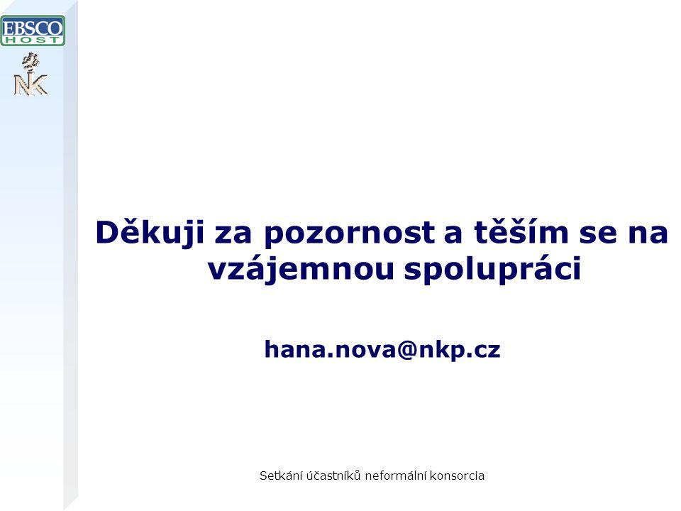 Setkání účastníků neformální konsorcia Děkuji za pozornost a těším se na vzájemnou spolupráci hana.nova@nkp.cz