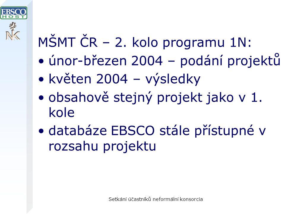 Setkání účastníků neformální konsorcia MŠMT ČR – 2. kolo programu 1N: únor-březen 2004 – podání projektů květen 2004 – výsledky obsahově stejný projek