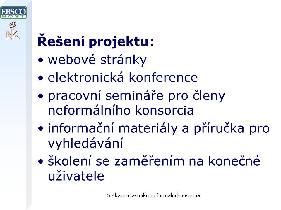 Setkání účastníků neformální konsorcia Řešení projektu: webové stránky elektronická konference pracovní semináře pro členy neformálního konsorcia info