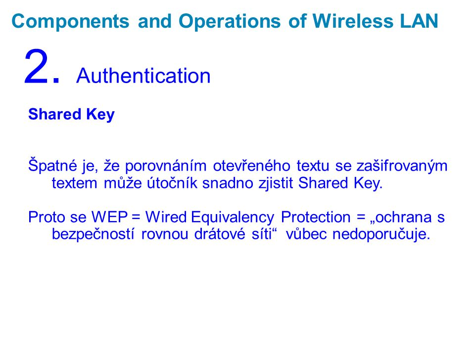 Components and Operations of Wireless LAN 2.