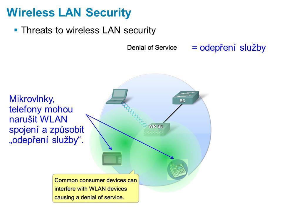 """ Threats to wireless LAN security Wireless LAN Security = odepření služby Mikrovlnky, telefony mohou narušit WLAN spojení a způsobit """"odepření služby ."""