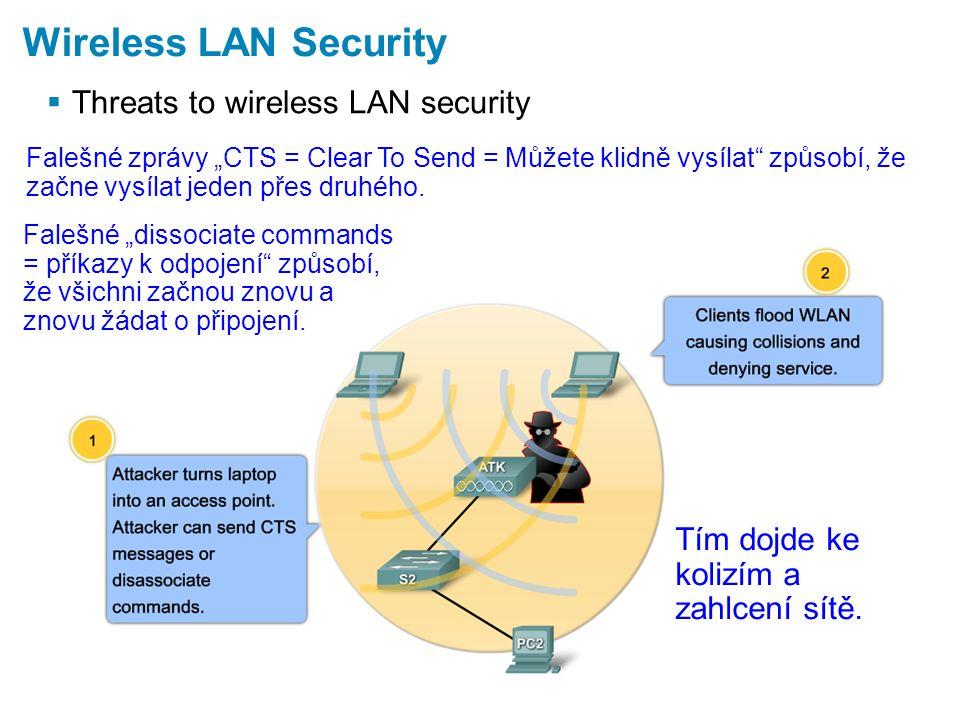 """ Threats to wireless LAN security Wireless LAN Security Falešné zprávy """"CTS = Clear To Send = Můžete klidně vysílat způsobí, že začne vysílat jeden přes druhého."""
