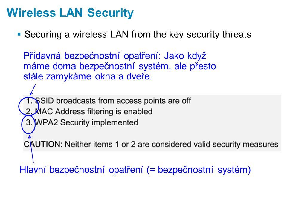  Securing a wireless LAN from the key security threats Wireless LAN Security Přídavná bezpečnostní opatření: Jako když máme doma bezpečnostní systém, ale přesto stále zamykáme okna a dveře.