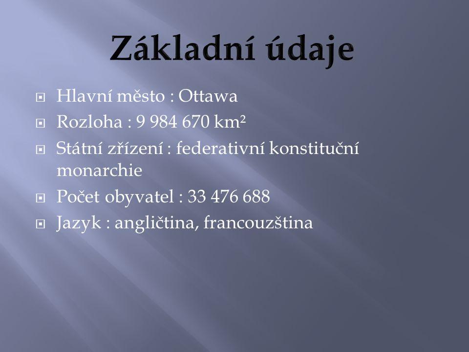  Hlavní město : Ottawa  Rozloha : 9 984 670 km²  Státní zřízení : federativní konstituční monarchie  Počet obyvatel : 33 476 688  Jazyk : angličtina, francouzština