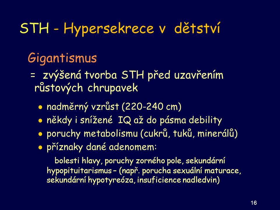 STH - Hypersekrece v dětství Gigantismus = zvýšená tvorba STH před uzavřením růstových chrupavek nadměrný vzrůst (220-240 cm) někdy i snížené IQ až do