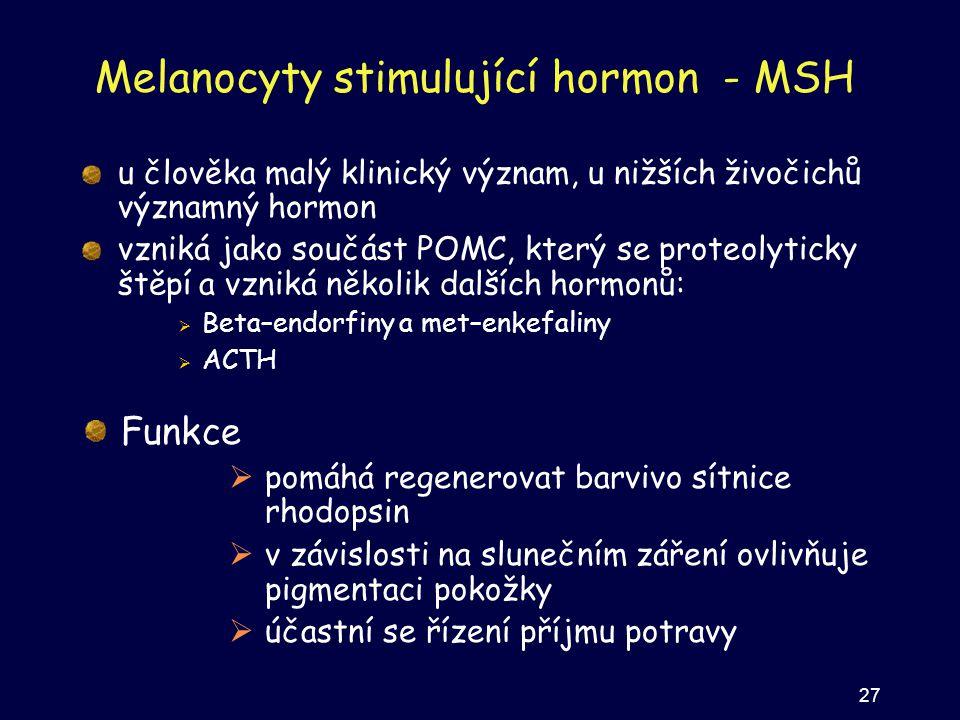 Melanocyty stimulující hormon - MSH u člověka malý klinický význam, u nižších živočichů významný hormon vzniká jako součást POMC, který se proteolytic