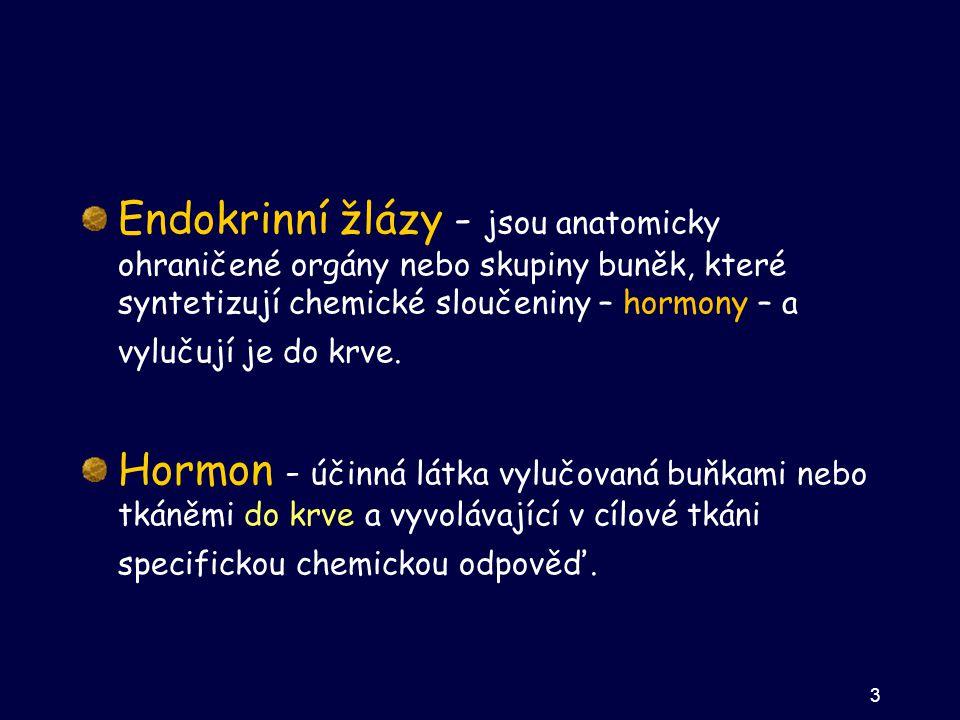 Endokrinní žlázy - jsou anatomicky ohraničené orgány nebo skupiny buněk, které syntetizují chemické sloučeniny – hormony – a vylučují je do krve. Horm