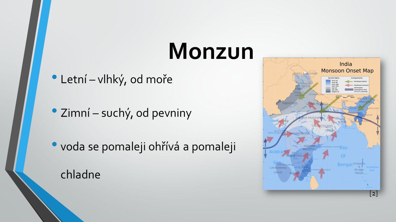 Monzun Letní – vlhký, od moře Zimní – suchý, od pevniny voda se pomaleji ohřívá a pomaleji chladne [2][2]