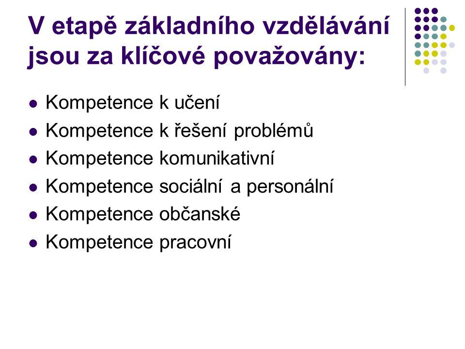 V etapě základního vzdělávání jsou za klíčové považovány: Kompetence k učení Kompetence k řešení problémů Kompetence komunikativní Kompetence sociální
