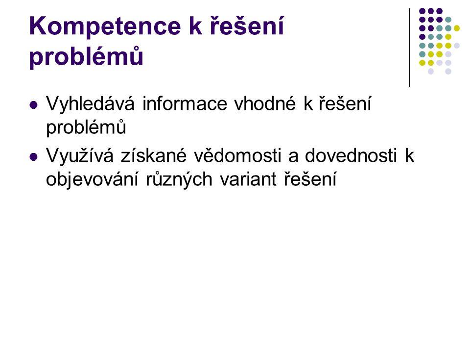 Kompetence k řešení problémů Vyhledává informace vhodné k řešení problémů Využívá získané vědomosti a dovednosti k objevování různých variant řešení