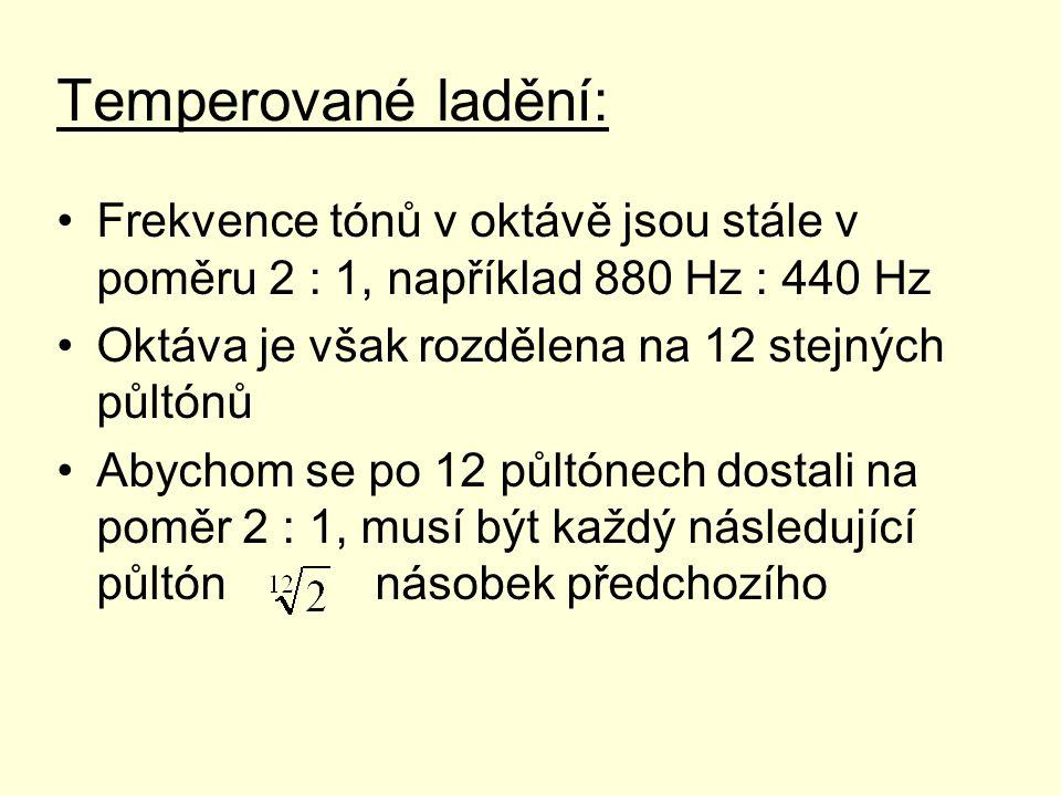 Temperované ladění: Frekvence tónů v oktávě jsou stále v poměru 2 : 1, například 880 Hz : 440 Hz Oktáva je však rozdělena na 12 stejných půltónů Abych
