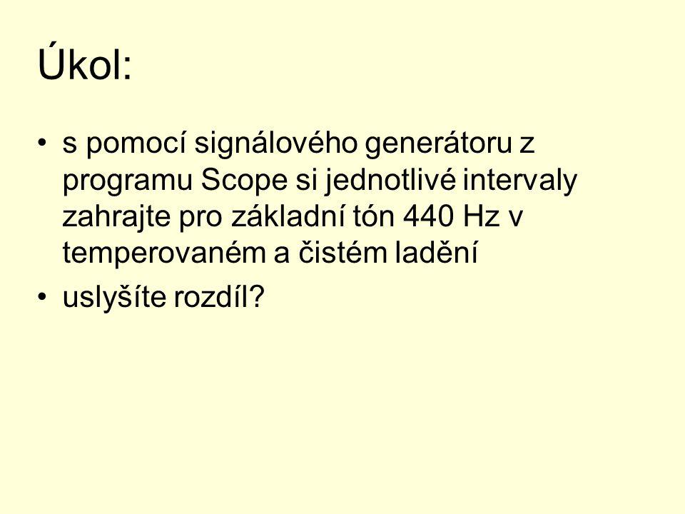 Úkol: s pomocí signálového generátoru z programu Scope si jednotlivé intervaly zahrajte pro základní tón 440 Hz v temperovaném a čistém ladění uslyšít