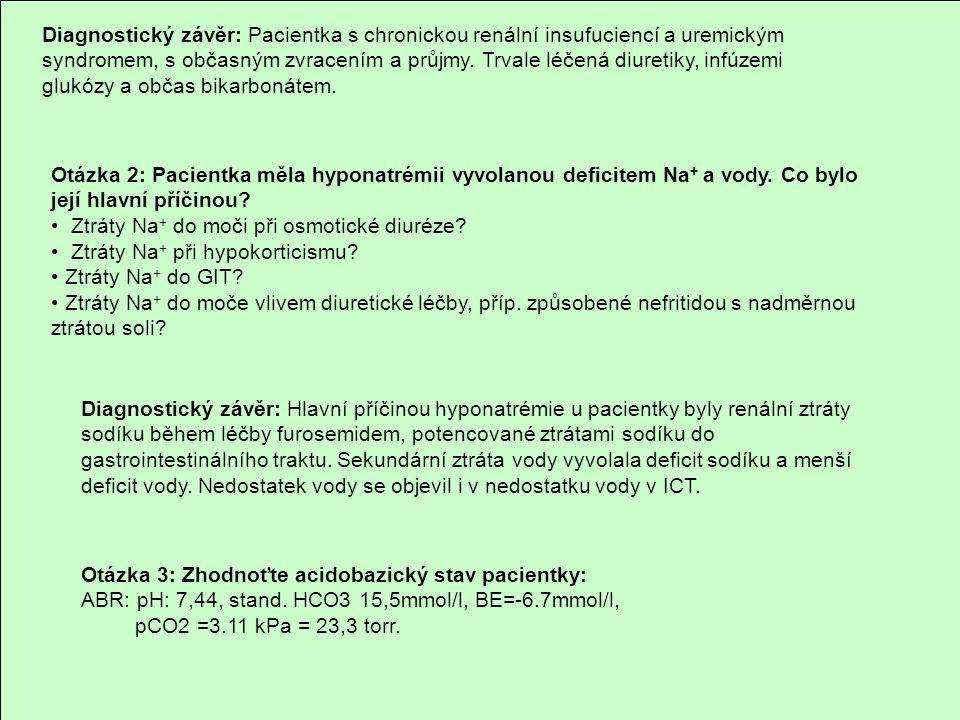 Diagnostický závěr: Pacientka s chronickou renální insufuciencí a uremickým syndromem, s občasným zvracením a průjmy. Trvale léčená diuretiky, infúzem