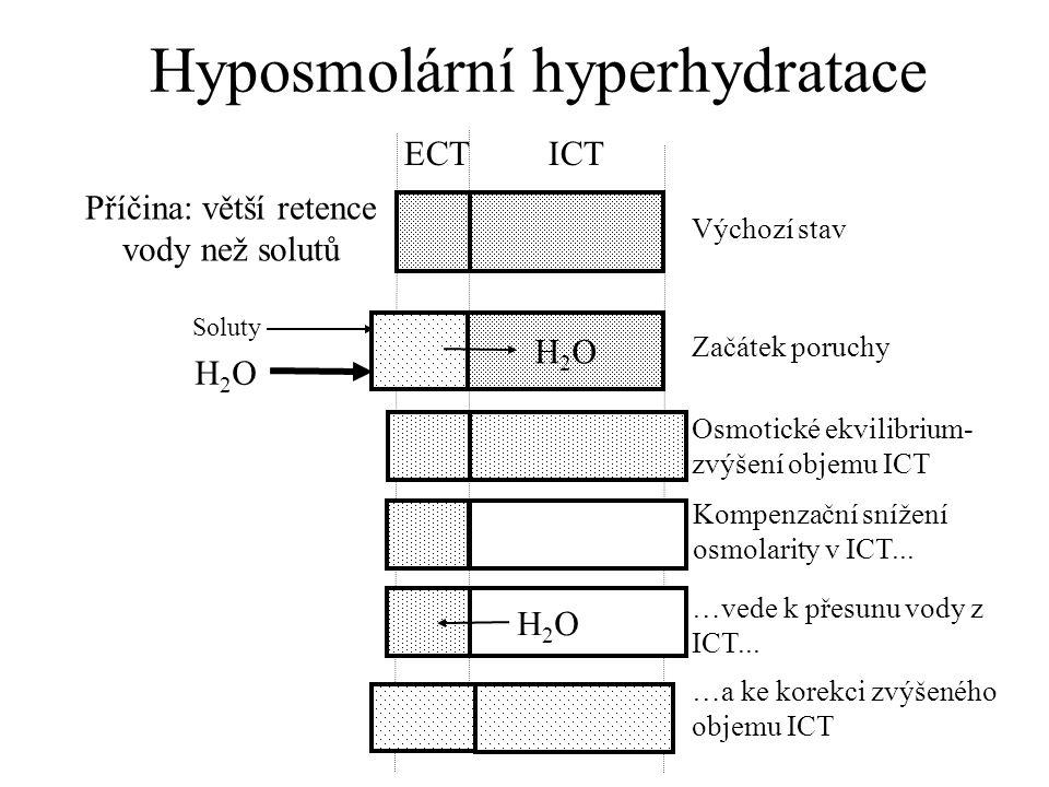 Hyposmolární hyperhydratace Příčina: větší retence vody než solutů ECT ICT Výchozí stav Začátek poruchy Osmotické ekvilibrium- zvýšení objemu ICT Kompenzační snížení osmolarity v ICT...