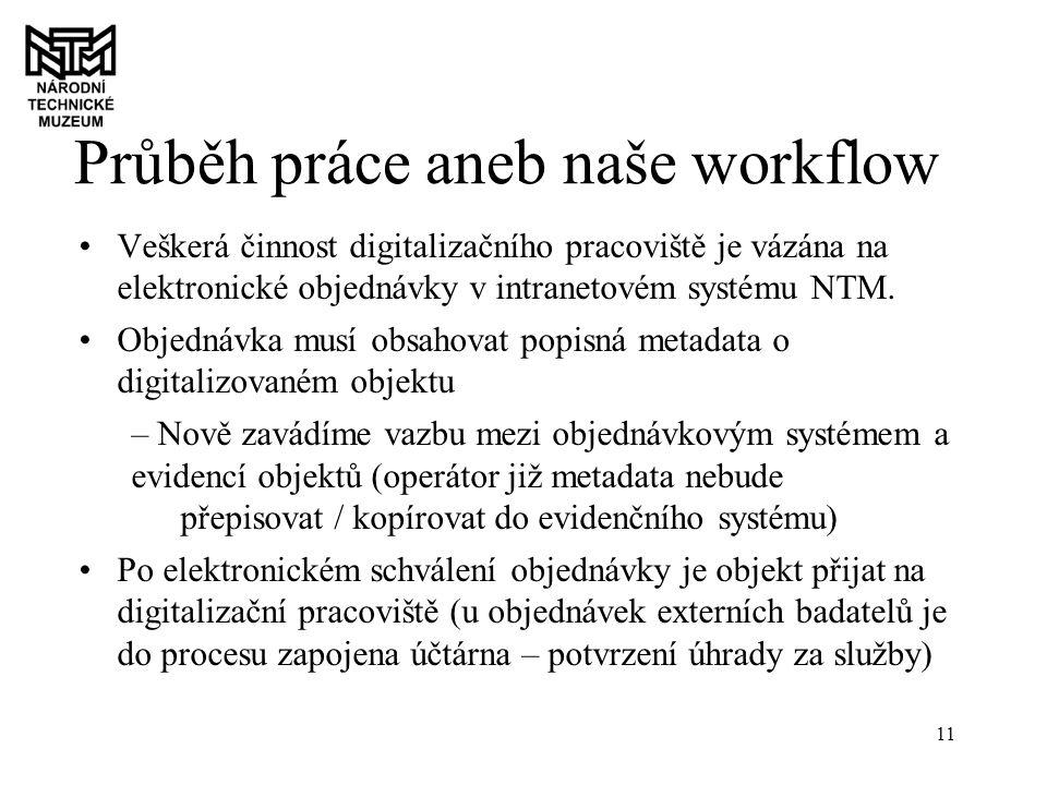 11 Průběh práce aneb naše workflow Veškerá činnost digitalizačního pracoviště je vázána na elektronické objednávky v intranetovém systému NTM.