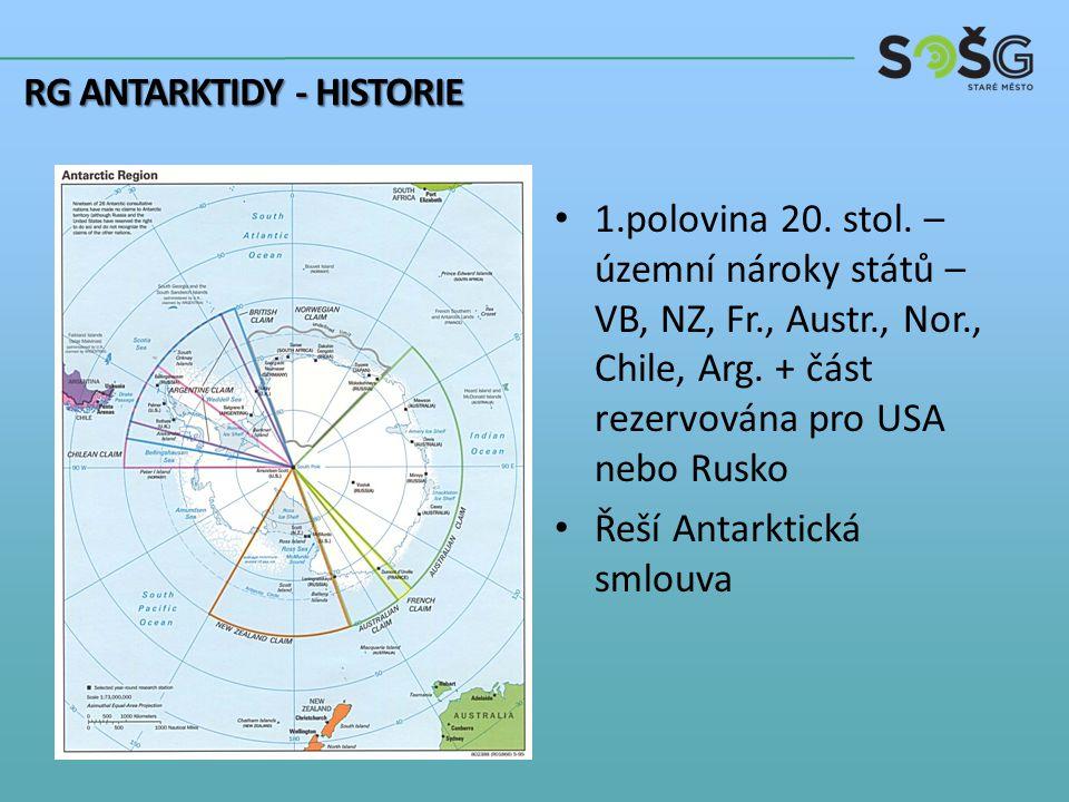1.polovina 20. stol. – územní nároky států – VB, NZ, Fr., Austr., Nor., Chile, Arg.