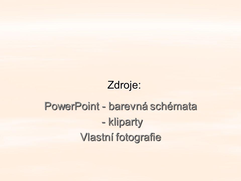 Zdroje: Zdroje: PowerPoint - barevná schémata - kliparty - kliparty Vlastní fotografie