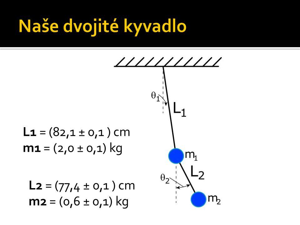 L1 = (82,1 ± 0,1 ) cm m1 = (2,0 ± 0,1) kg L2 = (77,4 ± 0,1 ) cm m2 = (0,6 ± 0,1) kg