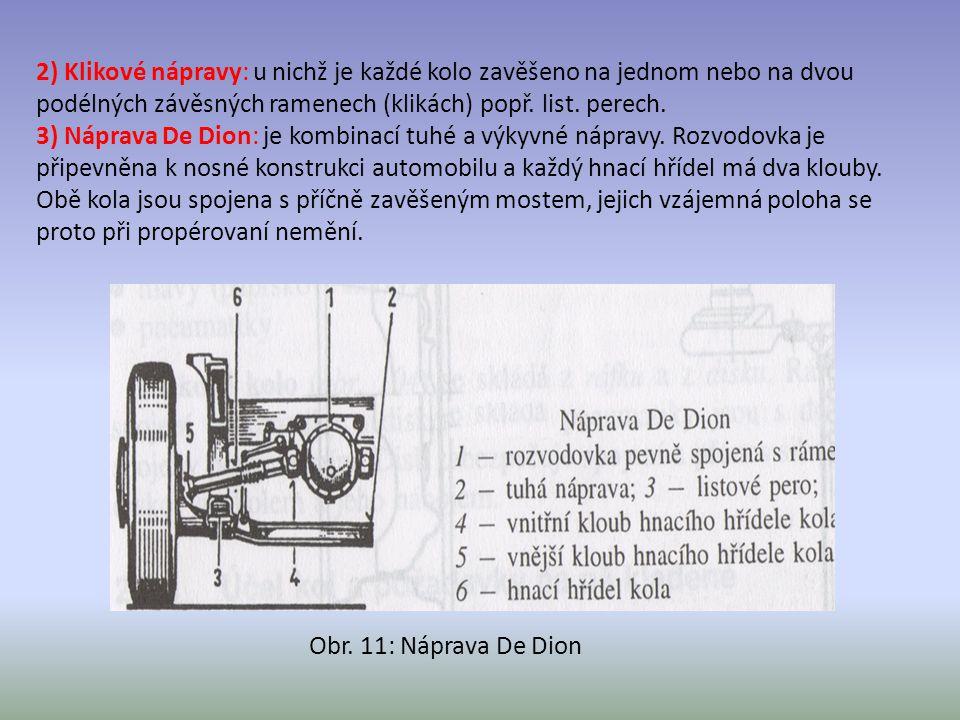 2) Klikové nápravy: u nichž je každé kolo zavěšeno na jednom nebo na dvou podélných závěsných ramenech (klikách) popř. list. perech. 3) Náprava De Dio
