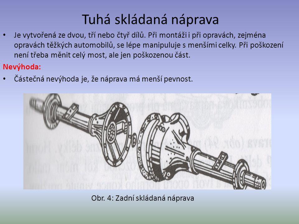 Je vytvořená ze dvou, tří nebo čtyř dílů. Při montáži i při opravách, zejména opravách těžkých automobilů, se lépe manipuluje s menšími celky. Při poš