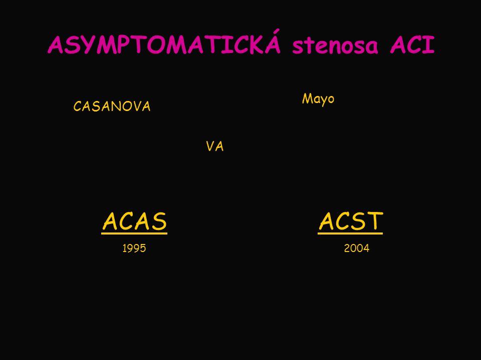 ASYMPTOMATICKÁ stenosa ACI CASANOVA VA Mayo ACAS 1995 ACST 2004