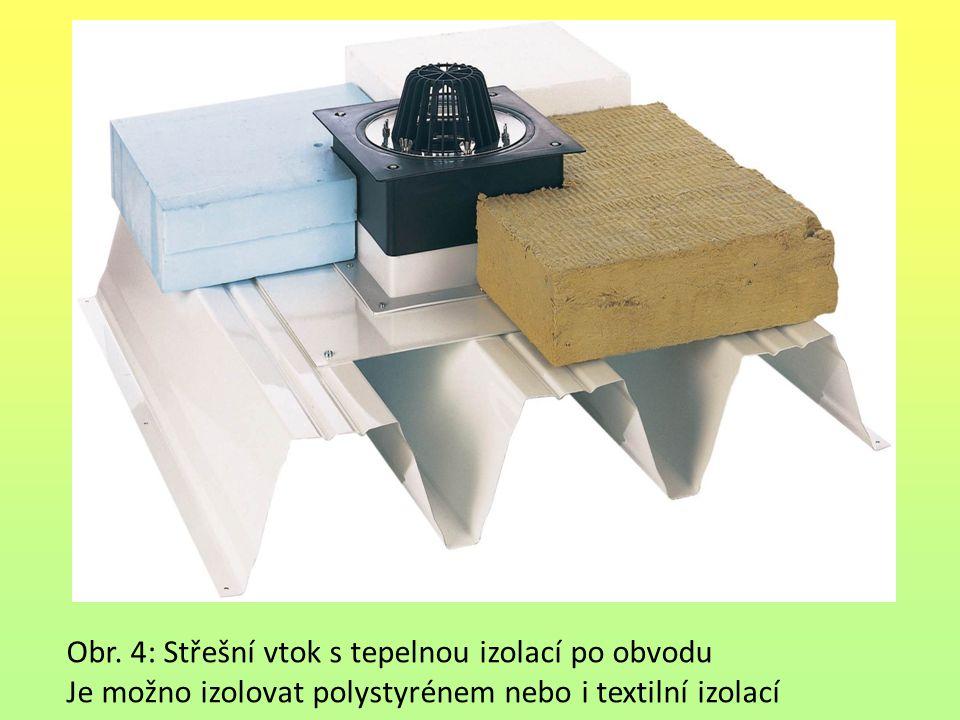 Obr. 4: Střešní vtok s tepelnou izolací po obvodu Je možno izolovat polystyrénem nebo i textilní izolací