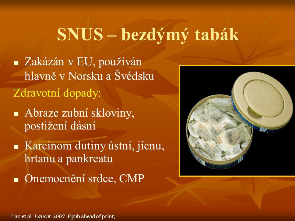 SNUS – bezdýmý tabák Zakázán v EU, používán hlavně v Norsku a Švédsku Zdravotní dopady: Abraze zubní skloviny, postižení dásní Karcinom dutiny ústní, jícnu, hrtanu a pankreatu Onemocnění srdce, CMP Luo et al.