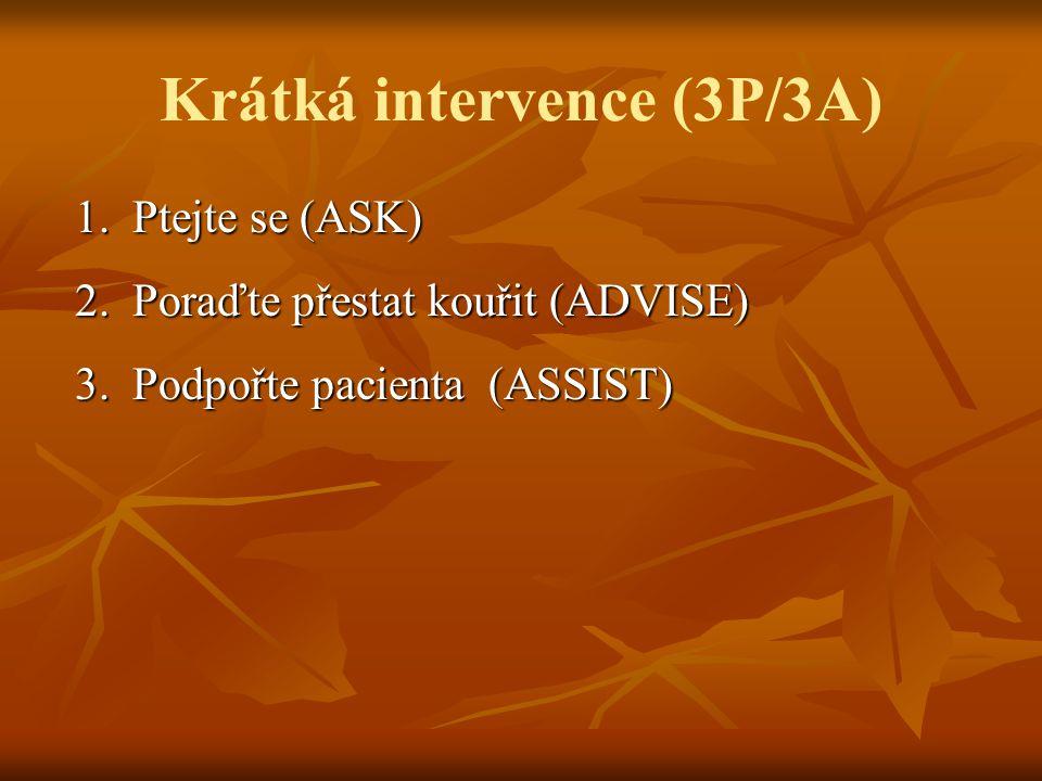 Krátká intervence (3P/3A) 1.Ptejte se (ASK) 1. Ptejte se (ASK) 2.