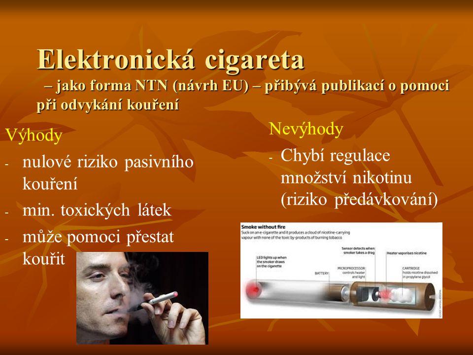 Elektronická cigareta – jako forma NTN (návrh EU) – přibývá publikací o pomoci při odvykání kouření Výhody - nulové riziko pasivního kouření - min.