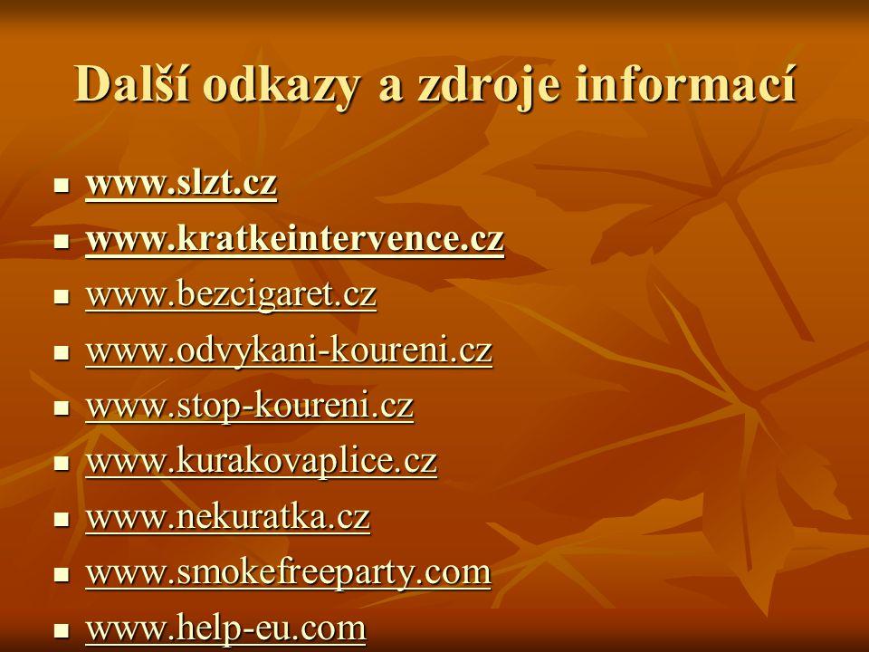 Další odkazy a zdroje informací www.slzt.cz www.slzt.cz www.slzt.cz www.kratkeintervence.cz www.kratkeintervence.cz www.kratkeintervence.cz www.bezcigaret.cz www.bezcigaret.cz www.bezcigaret.cz www.odvykani-koureni.cz www.odvykani-koureni.cz www.odvykani-koureni.cz www.stop-koureni.cz www.stop-koureni.cz www.stop-koureni.cz www.kurakovaplice.cz www.kurakovaplice.cz www.kurakovaplice.cz www.nekuratka.cz www.nekuratka.cz www.nekuratka.cz www.smokefreeparty.com www.smokefreeparty.com www.smokefreeparty.com www.help-eu.com www.help-eu.com www.help-eu.com www.access-europe.com www.access-europe.com www.access-europe.com
