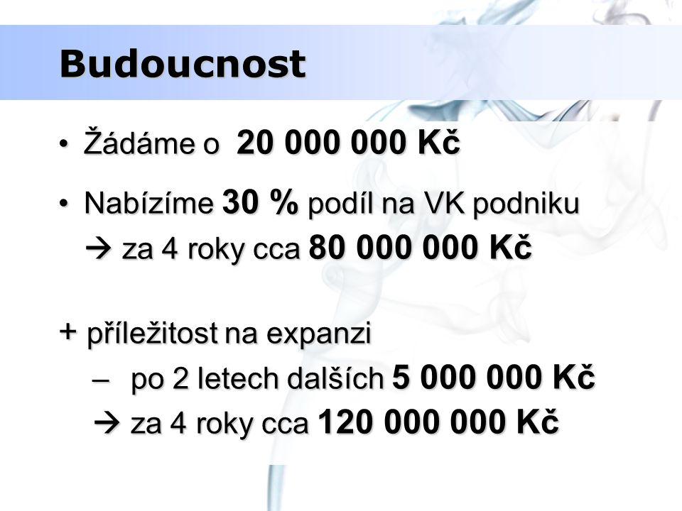 Budoucnost Žádáme o 20 000 000 KčŽádáme o 20 000 000 Kč Nabízíme 30 % podíl na VK podnikuNabízíme 30 % podíl na VK podniku  za 4 roky cca 80 000 000