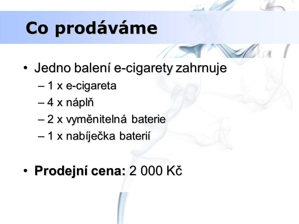 Co prodáváme Jedno balení e-cigarety zahrnujeJedno balení e-cigarety zahrnuje –1 x e-cigareta –4 x náplň –2 x vyměnitelná baterie –1 x nabíječka bater