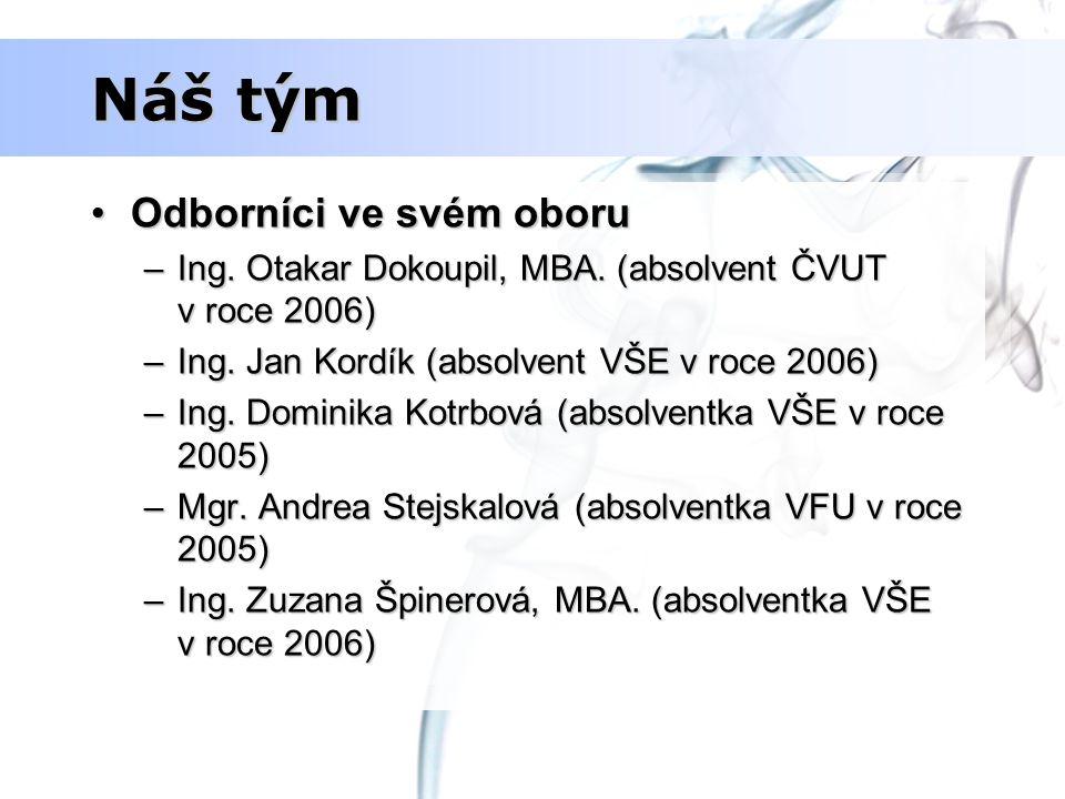 Náš tým Odborníci ve svém oboruOdborníci ve svém oboru –Ing. Otakar Dokoupil, MBA. (absolvent ČVUT v roce 2006) –Ing. Jan Kordík (absolvent VŠE v roce