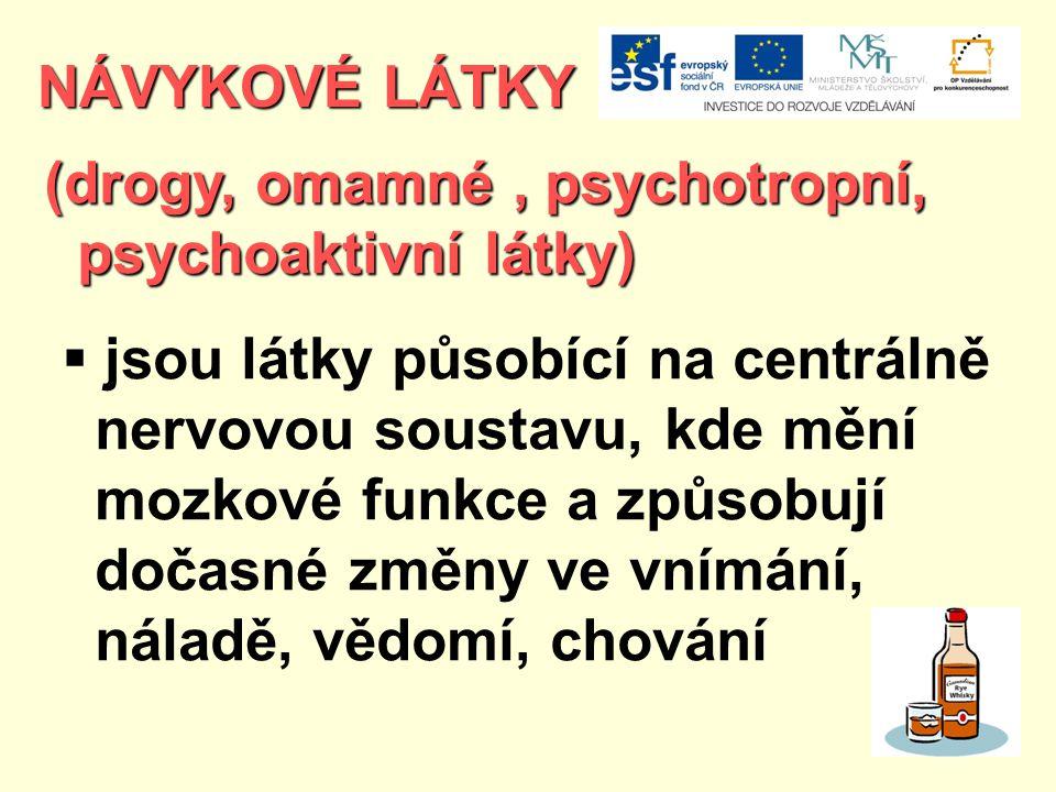 NÁVYKOVÉ LÁTKY (drogy, omamné, psychotropní, psychoaktivní látky) psychoaktivní látky)  jsou látky působící na centrálně nervovou soustavu, kde mění