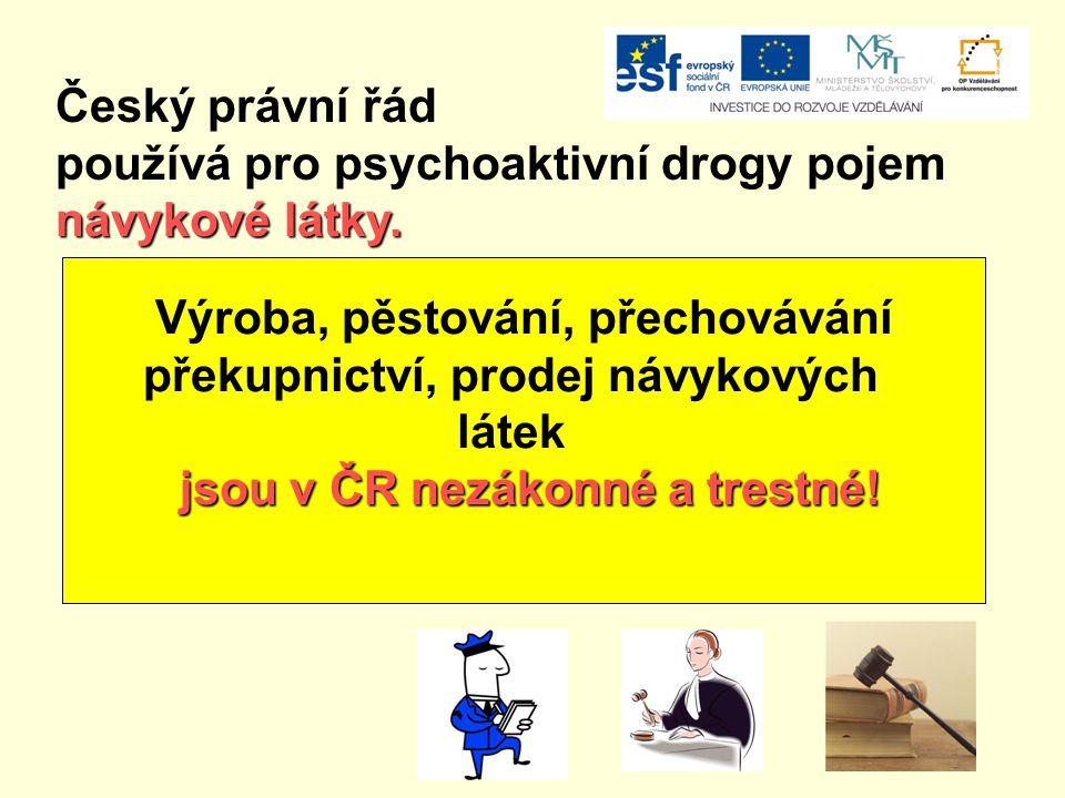 Český právní řád používá pro psychoaktivní drogy pojem návykové látky. Výroba, pěstování, přechovávání překupnictví, prodej návykových látek jsou v ČR