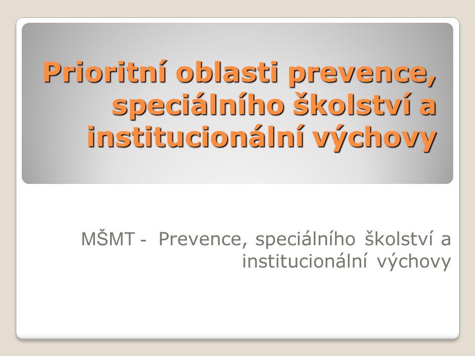 Prioritní oblasti prevence, speciálního školství a institucionální výchovy MŠMT - Prevence, speciálního školství a institucionální výchovy