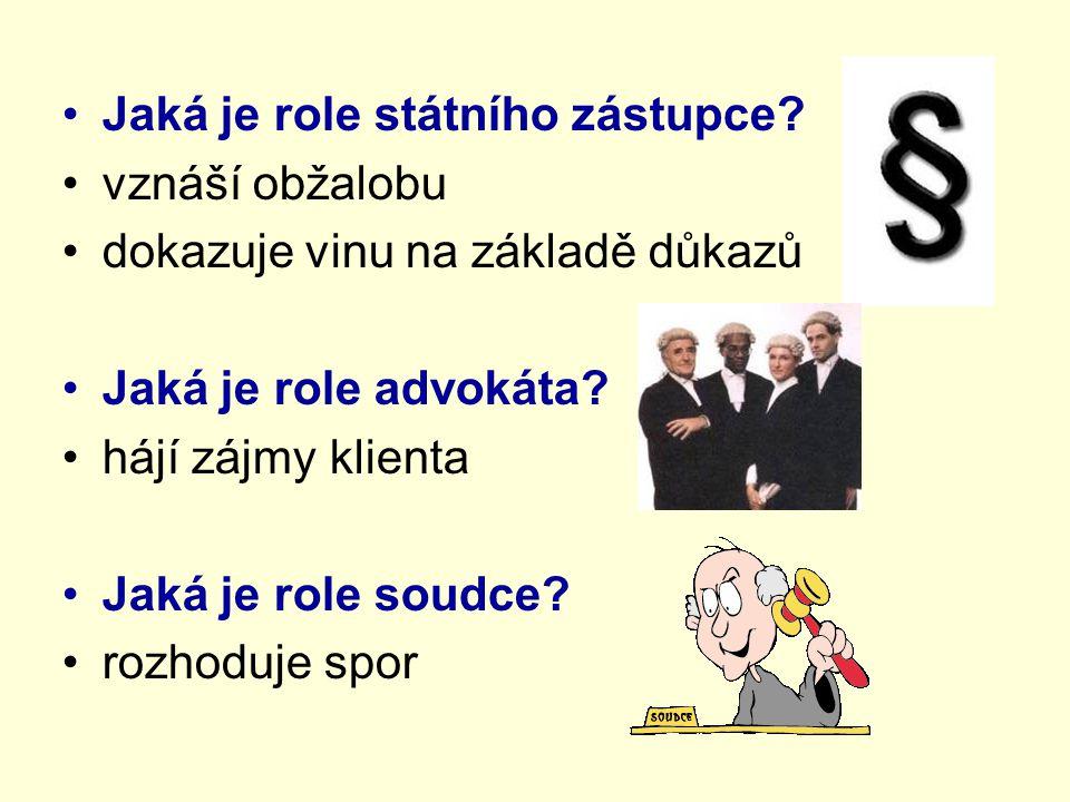 Jaká je role státního zástupce? vznáší obžalobu dokazuje vinu na základě důkazů Jaká je role advokáta? hájí zájmy klienta Jaká je role soudce? rozhodu