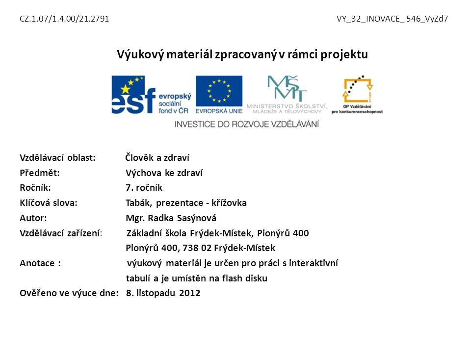 CZ.1.07/1.4.00/21.2791 VY_32_INOVACE_ 546_VyZd7 Výukový materiál zpracovaný v rámci projektu Vzdělávací oblast: Člověk a zdraví Předmět: Výchova ke zdraví Ročník: 7.