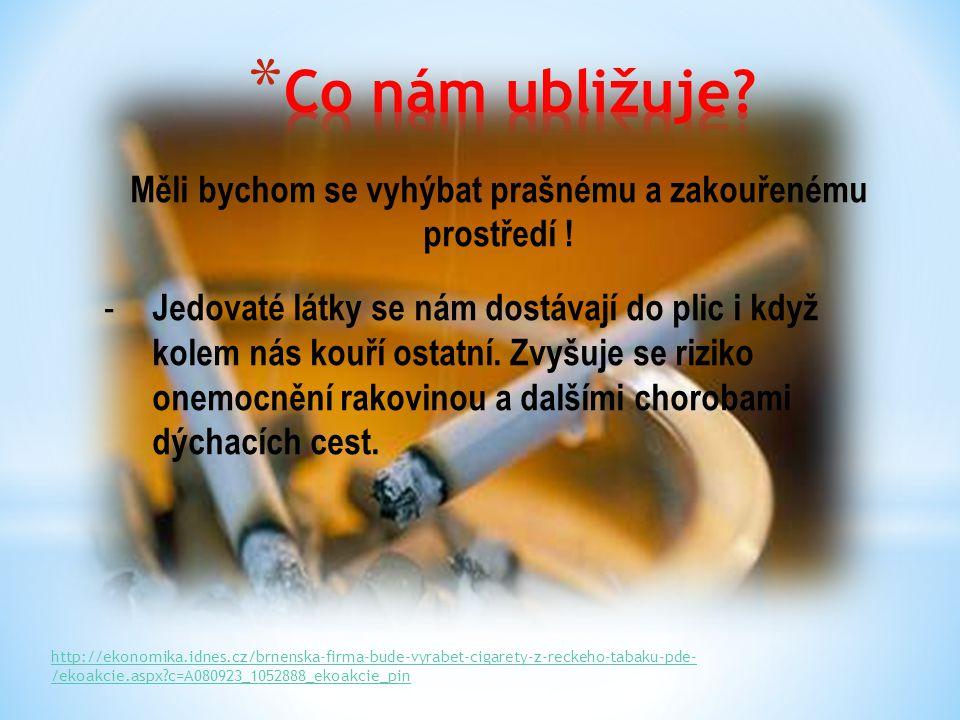 Měli bychom se vyhýbat prašnému a zakouřenému prostředí ! - Jedovaté látky se nám dostávají do plic i když kolem nás kouří ostatní. Zvyšuje se riziko