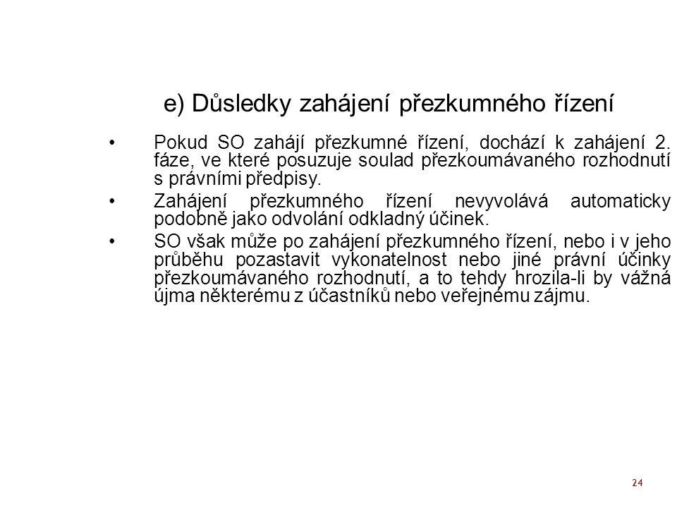 24 e) Důsledky zahájení přezkumného řízení Pokud SO zahájí přezkumné řízení, dochází k zahájení 2. fáze, ve které posuzuje soulad přezkoumávaného rozh