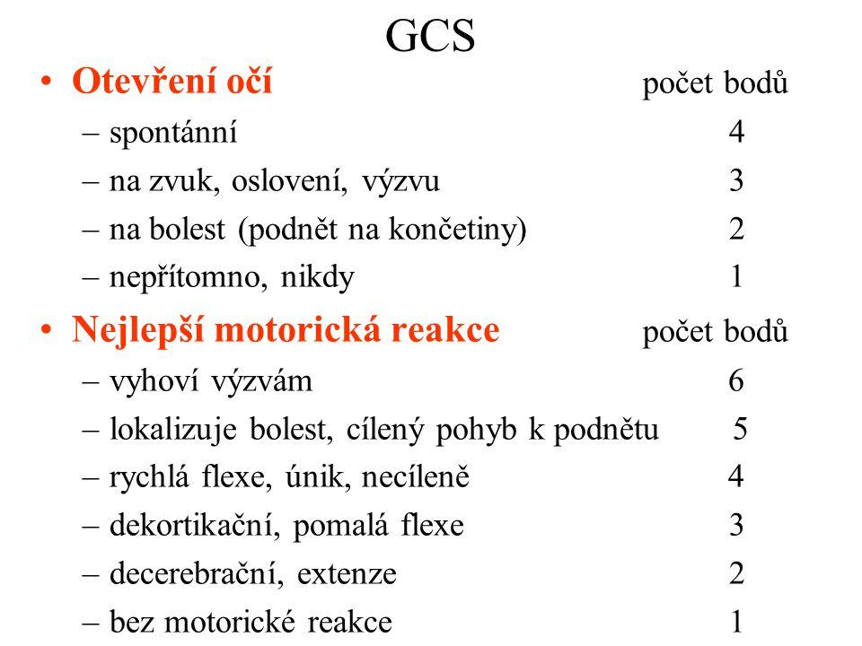 GCS Otevření očí počet bodů –spontánní4 –na zvuk, oslovení, výzvu3 –na bolest (podnět na končetiny) 2 –nepřítomno, nikdy1 Nejlepší motorická reakce po