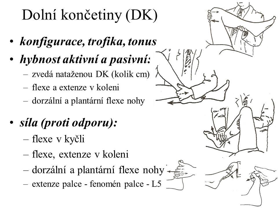 Dolní končetiny (DK) konfigurace, trofika, tonus hybnost aktivní a pasivní: –zvedá nataženou DK (kolik cm) –flexe a extenze v koleni –dorzální a plant